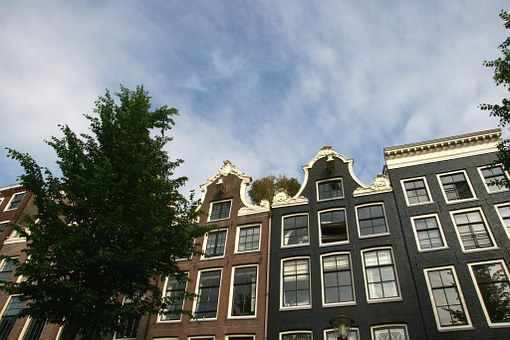 Canal House, Canal, Blue, Air, Clouds, Tree, Amsterdam