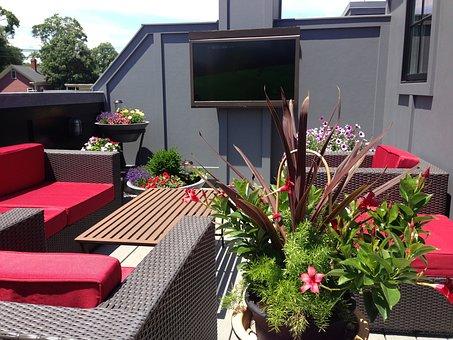 Terrace, Veranda, Balcony, Roof, Design, Deck, Tv