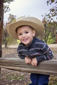 Boy, Cowboy, Hat, Child, Fun, People, Cute, Happy