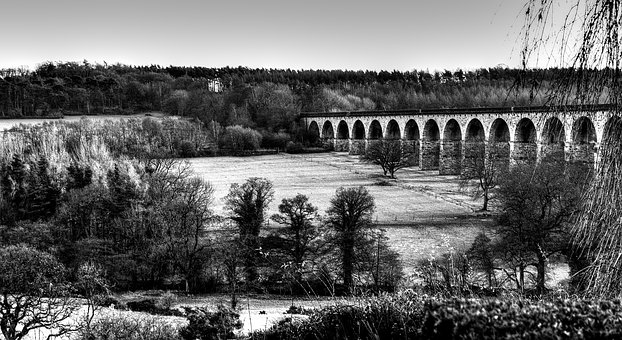 Landscape, Bridge, Season, Autumn, Stone, Trees, Views