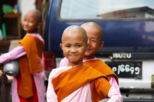 Buddhist, Nuns, Girls, Young, People, Myanmar, Asia
