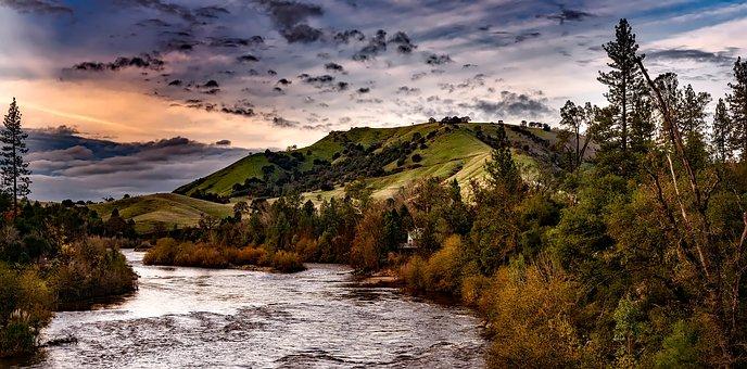 River, Hills, Evening, California, Landscape, Scenic