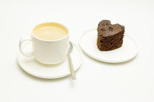 Breakfast, Coffee With Milk, Sponge Cake, Chocolate