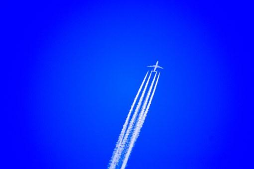 Airplane, Airplane Cruising, High Altitude, Contrails