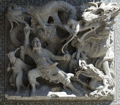 Sculpture, Dragon, Fight Scene, Asia, Statue