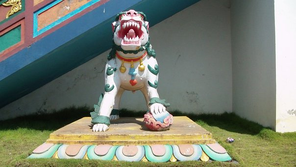 Buddhist, Buddhism, Temple, Monastery, Front, Lion