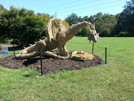 Dragon, Garden, Haybale, Nature, Statue, Yard Art, Egg
