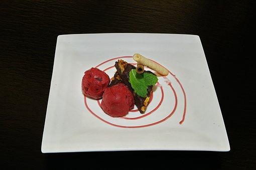 Blackcurrant Sorbet, Ice Cream, Dessert, Spearmint