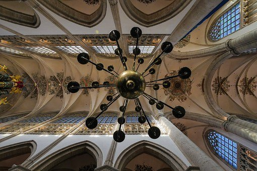 Church, Inside, Building, Old, Chandelier, Cathedral