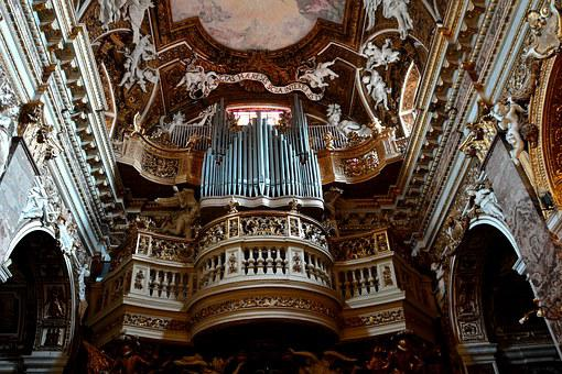 Church Interior, Pipe Organ, Musical, Instrument