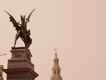 Dragon, Statue, City, London, Monument, Sculpture