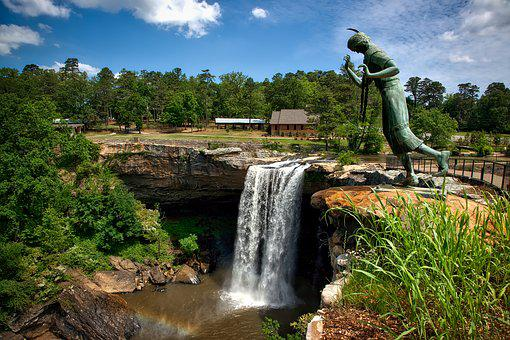 Noccaulula Falls, Alabama, Waterfall, Landscape, Stream