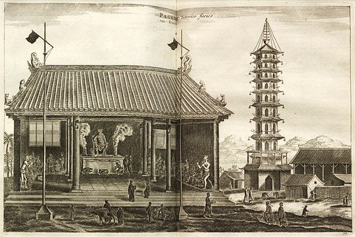 Pagoda, 1693, Burning Old Book, Old Temple, Followers