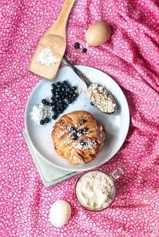 Baking, Berry, Blueberry, Pink, Plate, Oatmeal, Flour