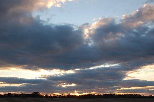 Clouds, Sunset, Purple, Blue, Sun, Sky, Landscape