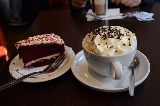 Hot Chocolate, Coffee, Breakfast, Red Velvet, Cake