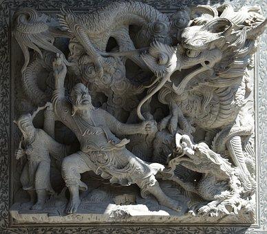 Sculpture, Dragon, Fight Scene, Asia, Statue