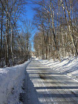 Road, Winter, Snow, Sky, Trees, Forest, Scene, Nature