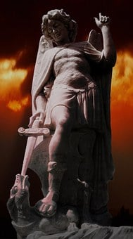 Statue, Archangel Michael, Dragon Sword, Cemetery