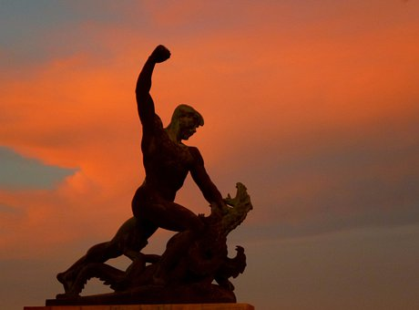 Statue, Sunset, Light, Fight, Dragon, Sky, Színesfelhő