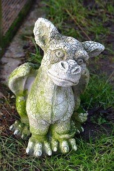 Dragon, Statue, Stone, Ornament, Small, Cute, Garden
