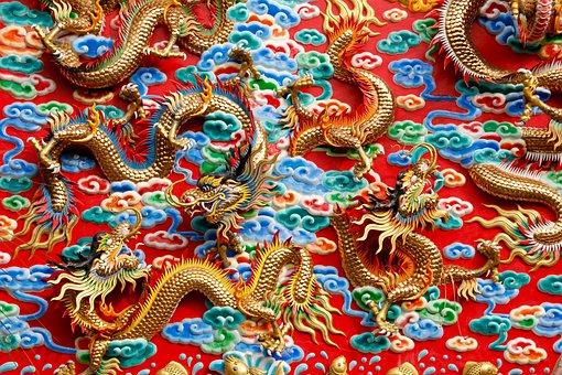 Dragons, China, Thailand, Ornament, Architecture