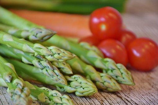 Asparagus, Green, Green Asparagus, Tomatoes
