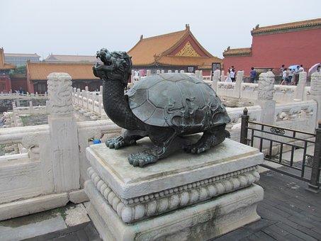 Turtle, Dragon, Statue, Temple Guardian, Temple, Art