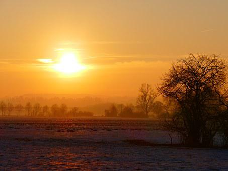 Wintry, Sunset, Trees, Back Light, Winter, Snow, Cold