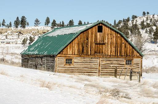 Barn, Wood, Snow, Winter, Weathered, Barn Wood
