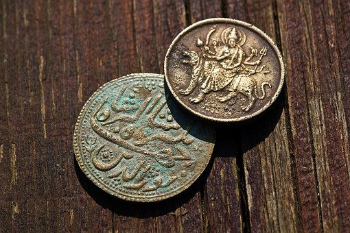 Money, Metal, Wood, Table, Old, Indian, Asia, Rupee