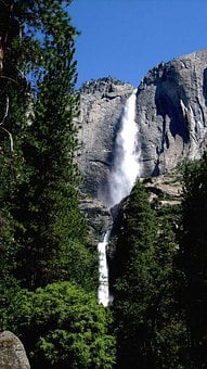 Yosemite, Waterfall, Upper, Lower, Falls, California