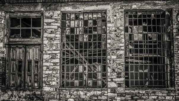 Windows, Factory, Decay, Grunge, Abandoned, Broken