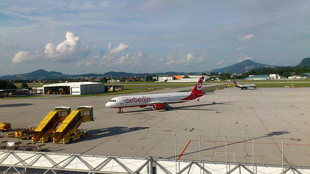 Airberlin, Aircraft, Aviation, Salzburg, Airport