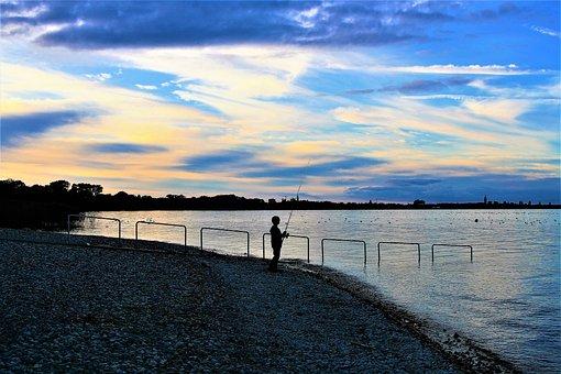 Beach, Fishing, Lake, Bodensee, Rod, Peace Of Mind, Boy
