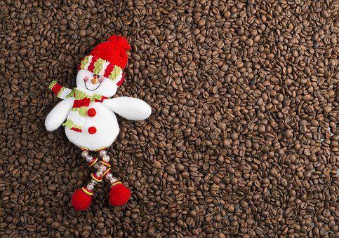 Santa Claus, Coffee, Coffee Beans, Christmas
