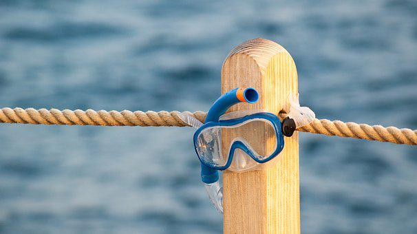 Mask, Diving, Sea, Water, The Pier, Rope