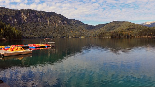 Eibsee, Lakeside, Autumn Mood, Tyrol's Mountains