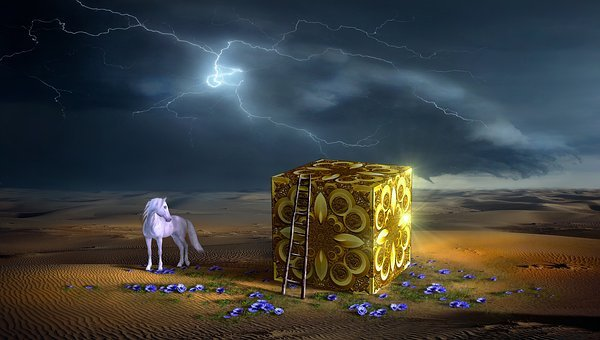 Fantasy, Desert, Cube, Flowers, Head, Horse, Forward