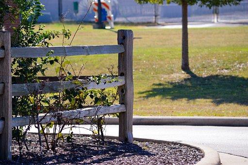 Fence, Post, Mulch, Bush, Grass, Decor, Area, Nature