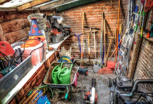 Shed, Garden, Tools, Gardening, Wheelbarrow, Watering