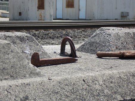 Spike, Railroad, Concrete, Closeup, Outdoor, Industrial