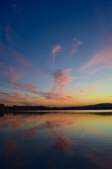 Sunset, Lake, Clouds, Pink, Sky, Blue, Nature, Summer