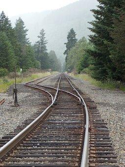 Train Tracks, Rails, Railroad, Switch, Perspective