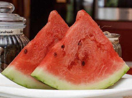 Fruit, Melon, Watermelon, Slice, Healthy, Red, Green
