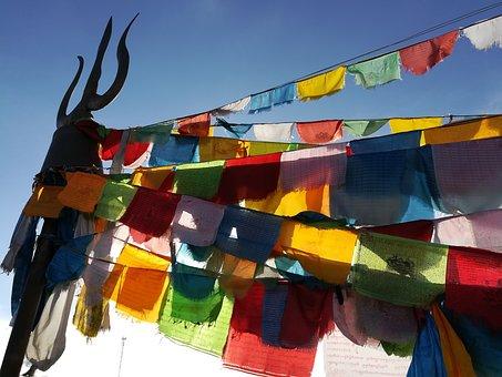 Prayer Flags, Religion, Minor Ethnic, Wind, Sky, Flag