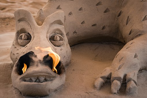 Dragon, Fire Dragon, Fire, Orange, Sand, Sand Art