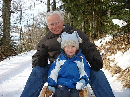 Man, Grandpa, Senior, Pensioners, Child, Slide, Snow