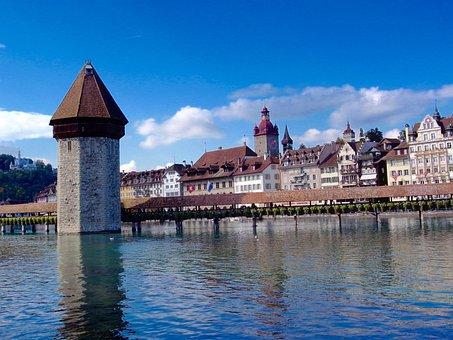 Switzerland, Lucerne, Water Tower, Chapel Bridge, Reuss