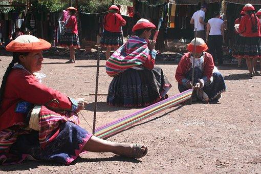 Peru, Weaving, Ladies, Tradition, Handicraft, Woolen